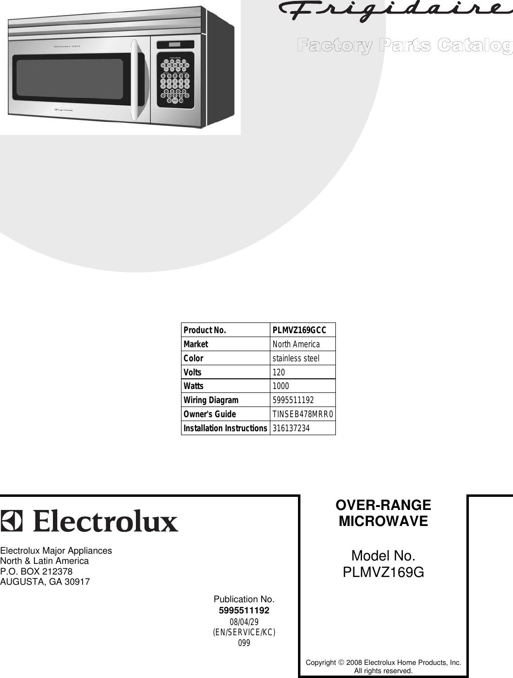 Electrolux PLMVZ169G To Begin A Parts Catalog, Click Load Contents In The  Top Menu Bar User Manual 81999082 eff5 47ef b30a 8fff7d484994