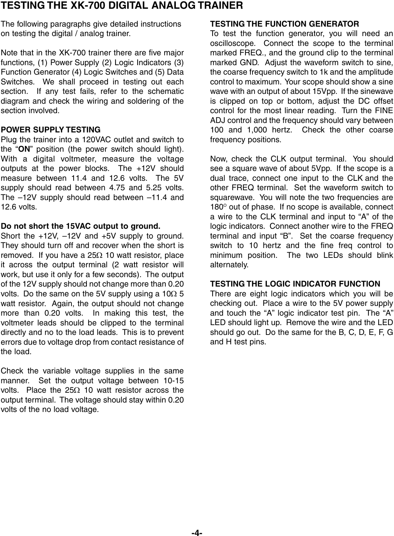 Elenco Digital Analog Trainer Xk 700 Users Manual REV L 090507