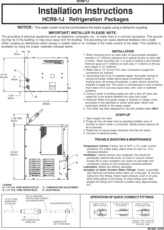 Elkay Hcr8 1j Users Manual 98066c Wiring Diagram