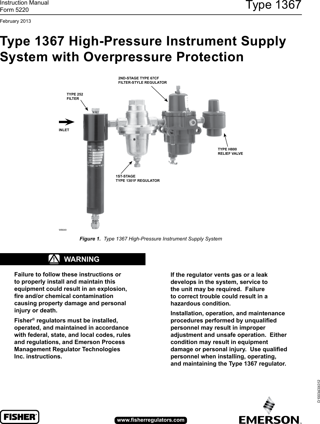 Emerson 1367 High Pressure Instrument Supply System