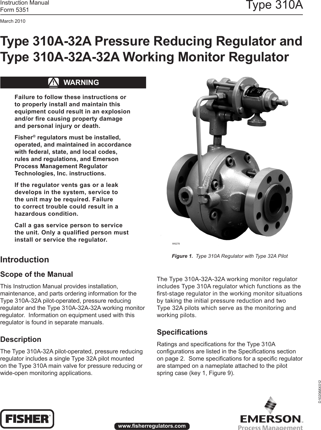 Emerson 310A Pressure Reducing Regulator Instruction Manual