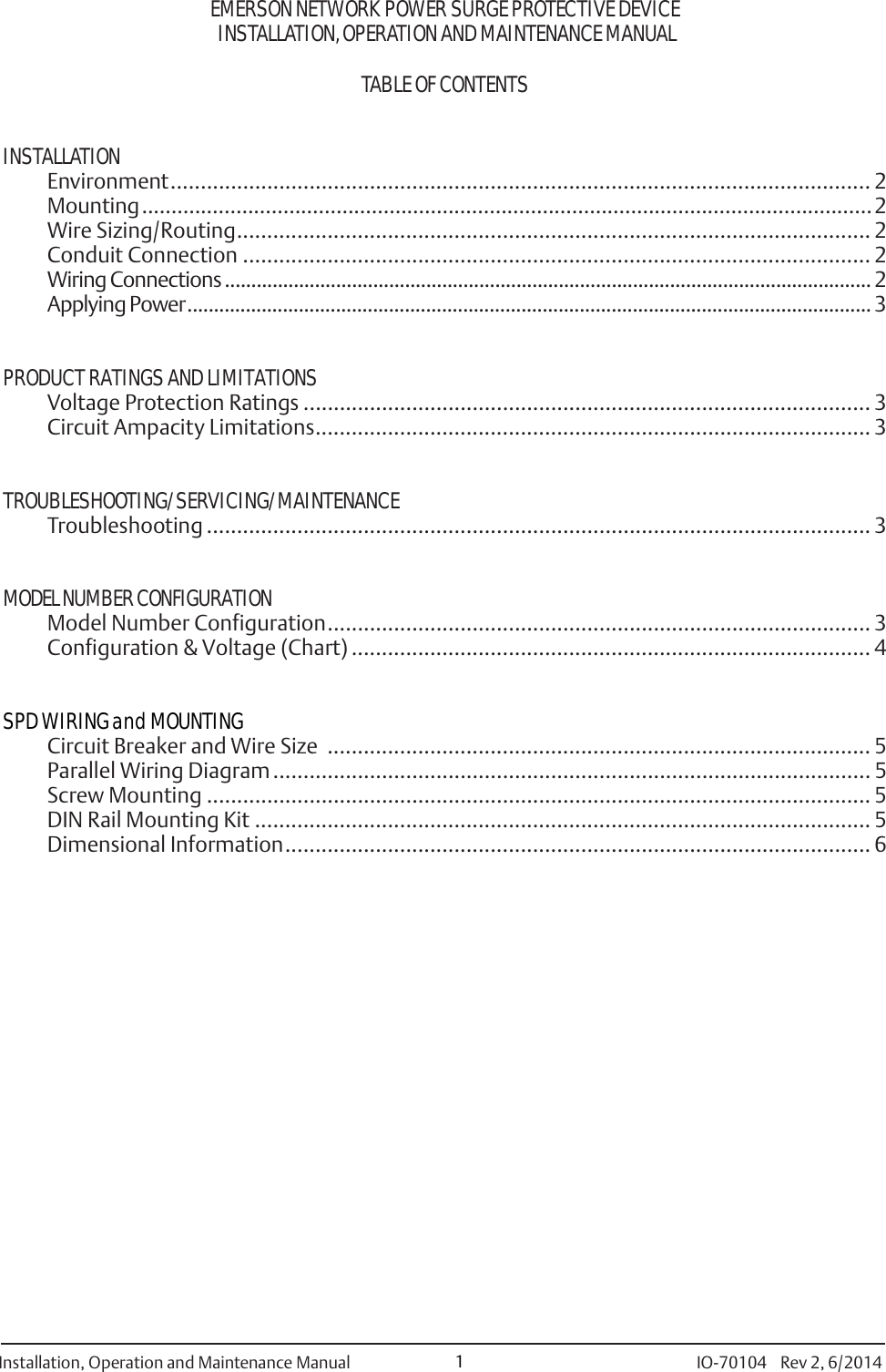 Emerson 420 Surge Protective Device Formerly Powersure Cm Wiring Diagram Page 2 Of 8