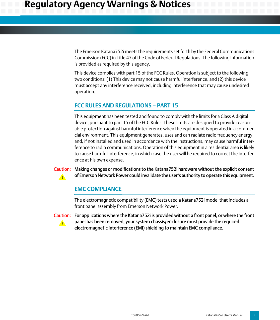 Emerson 752I Users Manual Katana752i User's Manual, #10006024 04