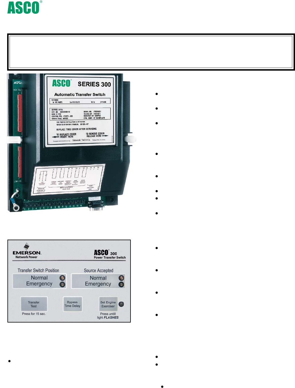 Emerson Asco Series 300 Group 1 Power Transfer Switch Brochures And Wiring Diagram Control Display Panel
