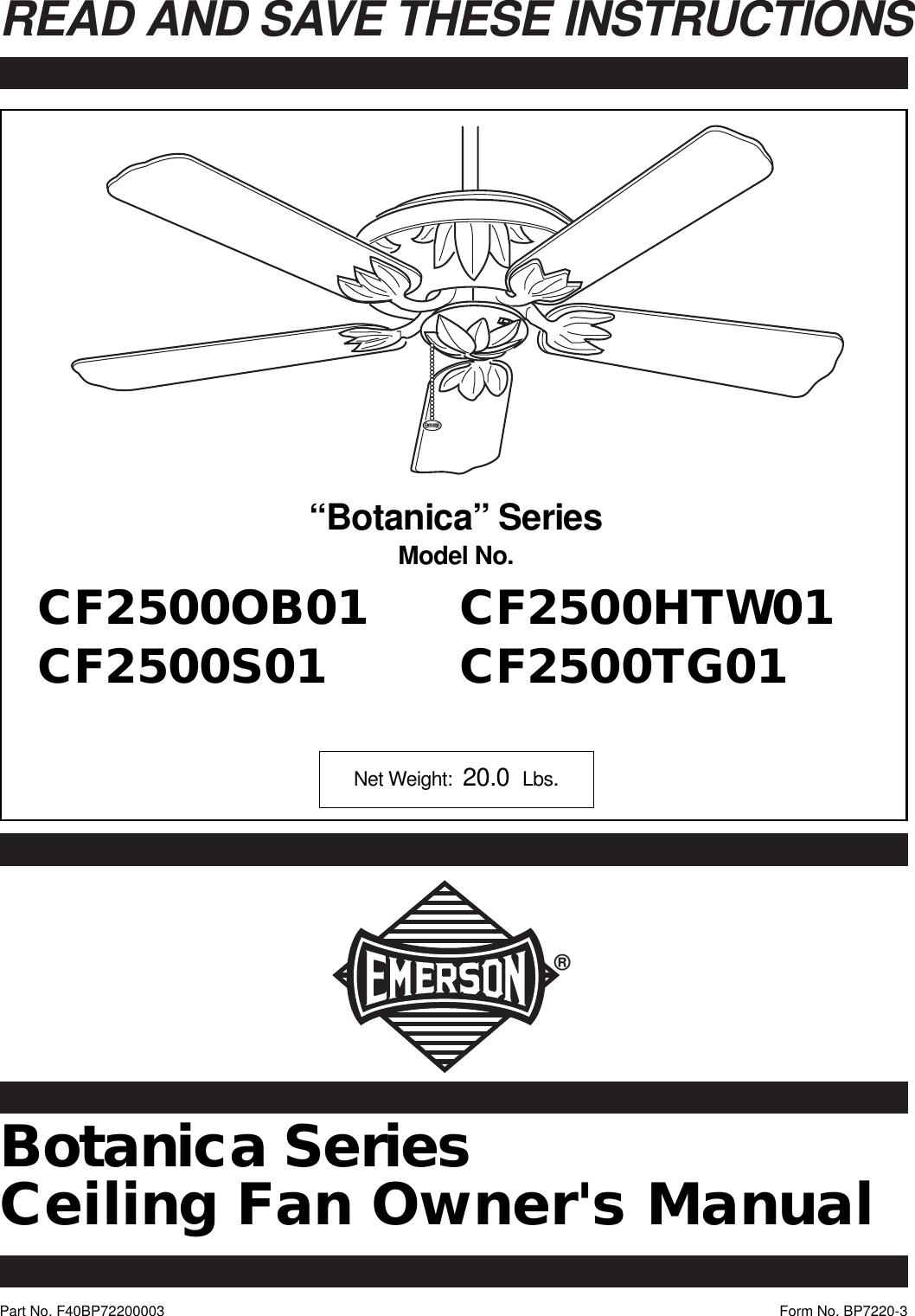Emerson Sw375 Fan Wiring Diagrams Electrical Diagram Cf2500htw01 Owners Manual Bp7220 Cf2500 A