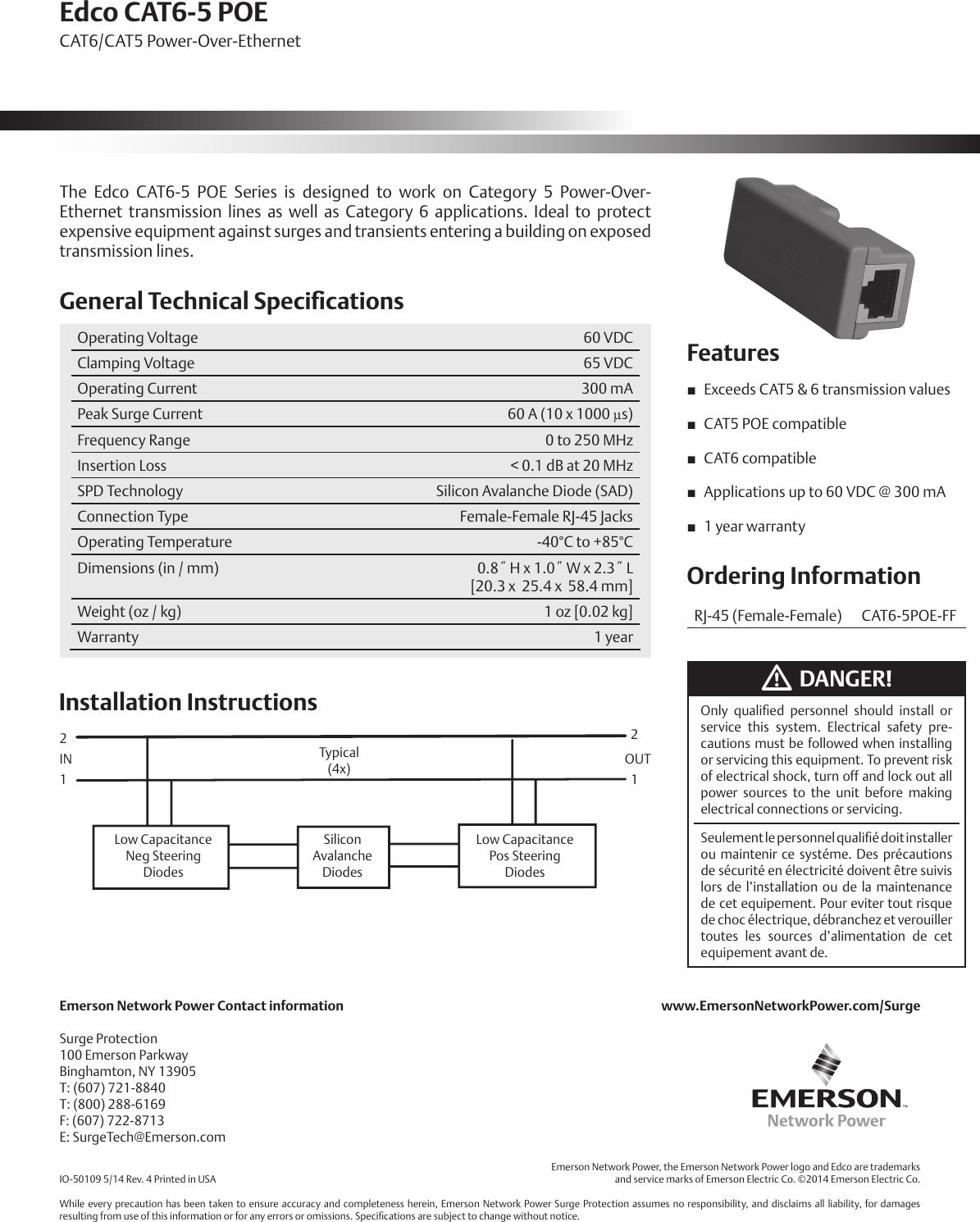 Emerson Edco Cat6 5 Poe Power Over Ethernet Installation Manual Io Wiring Instructions 50109 Edcocat6 5poe 14