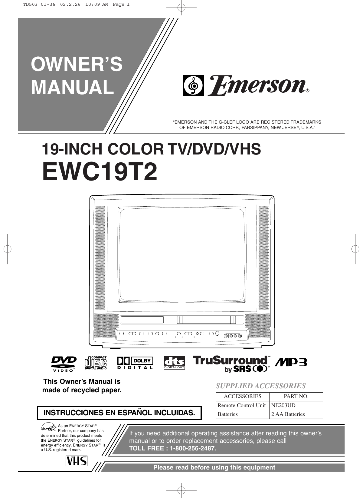 emerson vcr dvd player manual