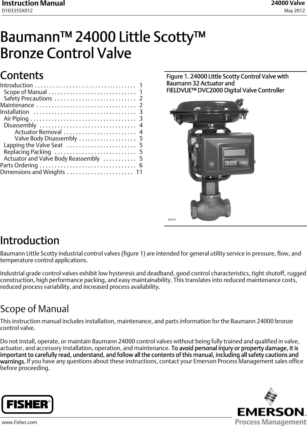 Emerson Fisher Baumann 24000 Instruction Manual