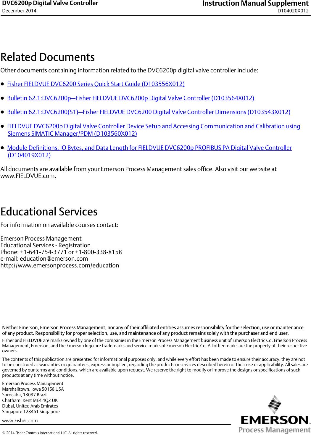 Emerson Fisher Fieldvuedvc6200P Digital Valve Controller Instruction