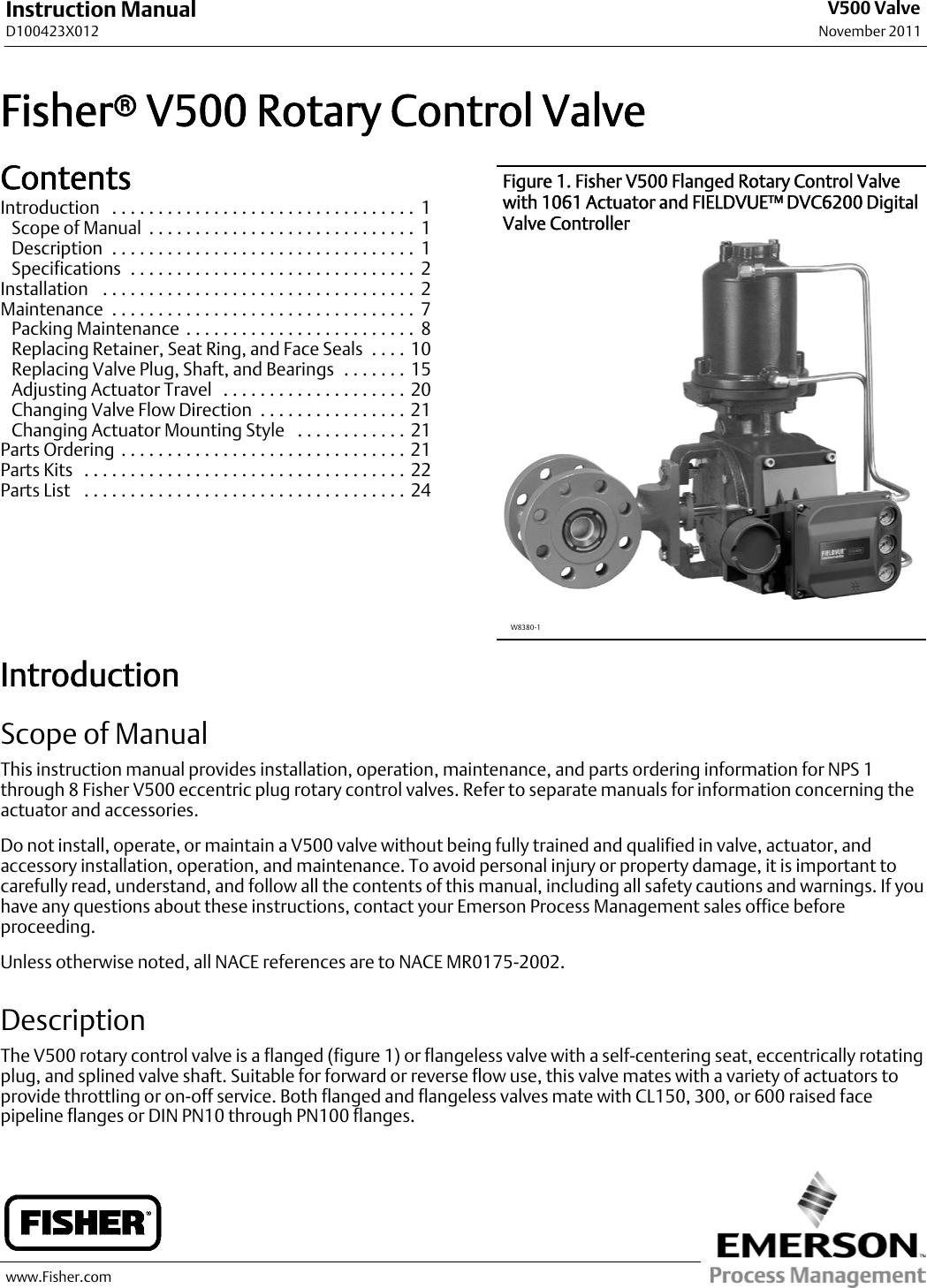 fisher v500 instruction manual