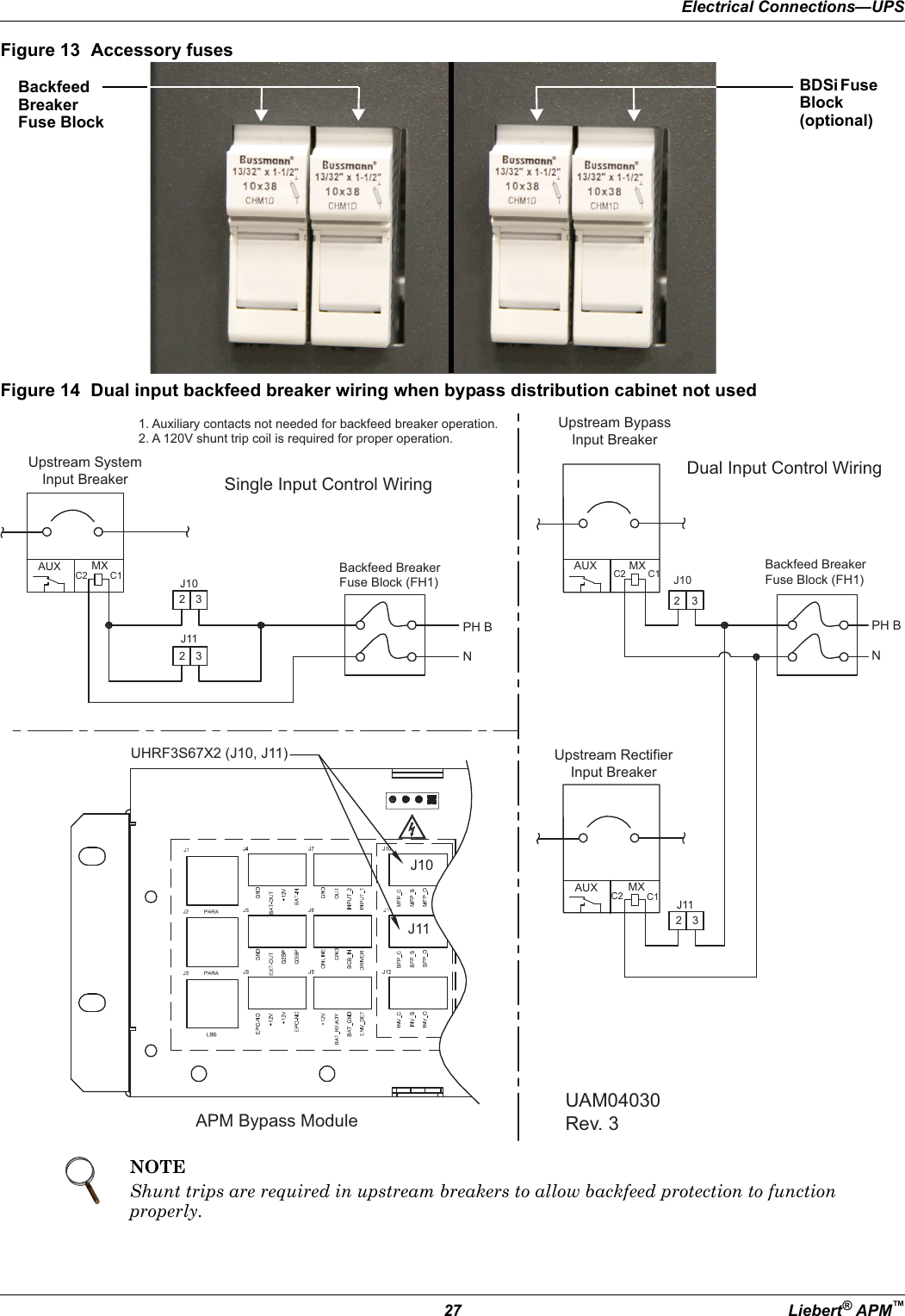 Emerson Liebert Apm On Line Ups 15 90kw User Guide How Do Shunt Trip Breakers Work Electrical Connectionsups27 Apmfigure 13 Accessory Fusesfigure 14 Dual Input Backfeed