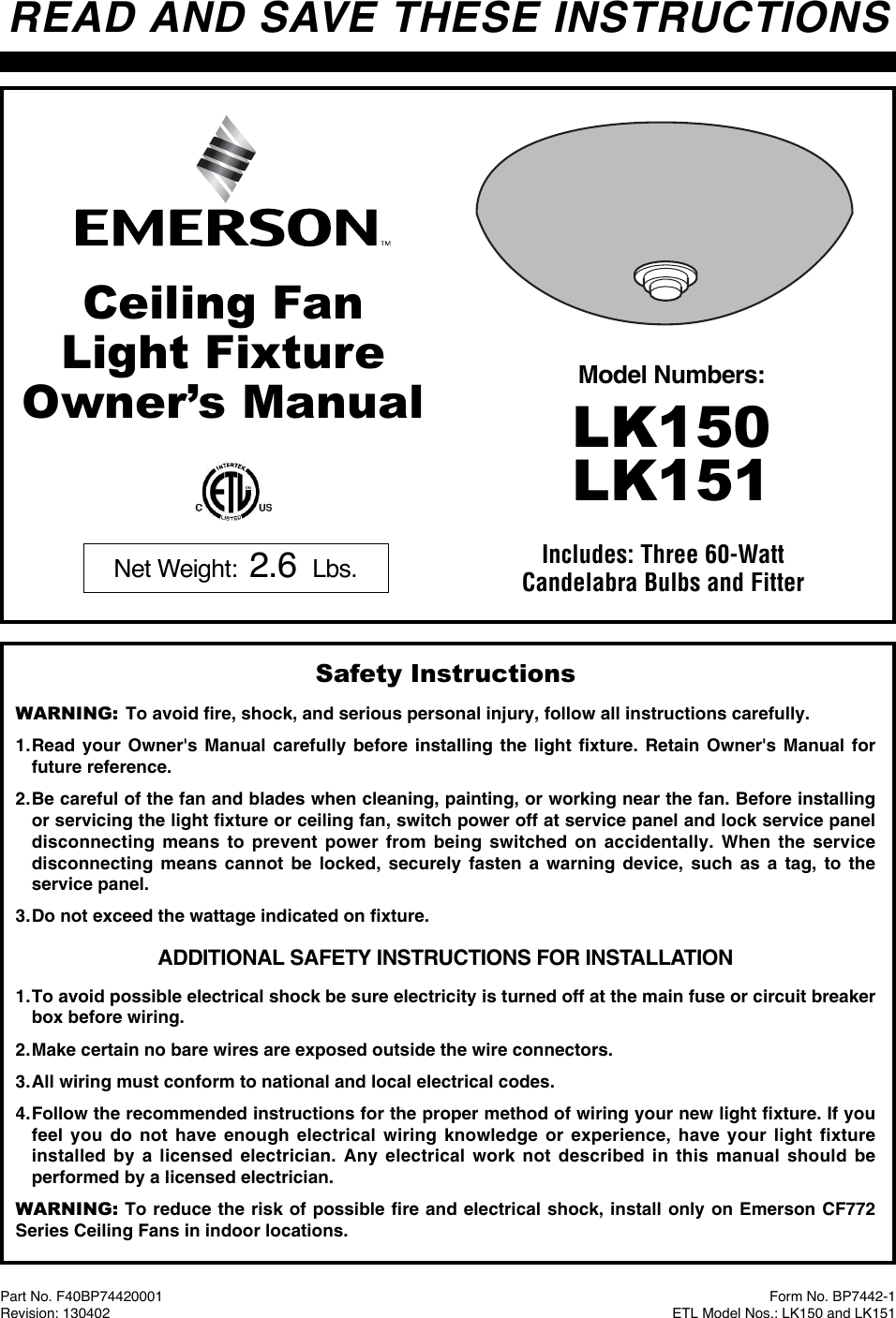 Emerson Lk151 Owners Manual Bp7442 1 Lk150 And Electric Fan Install Page 4