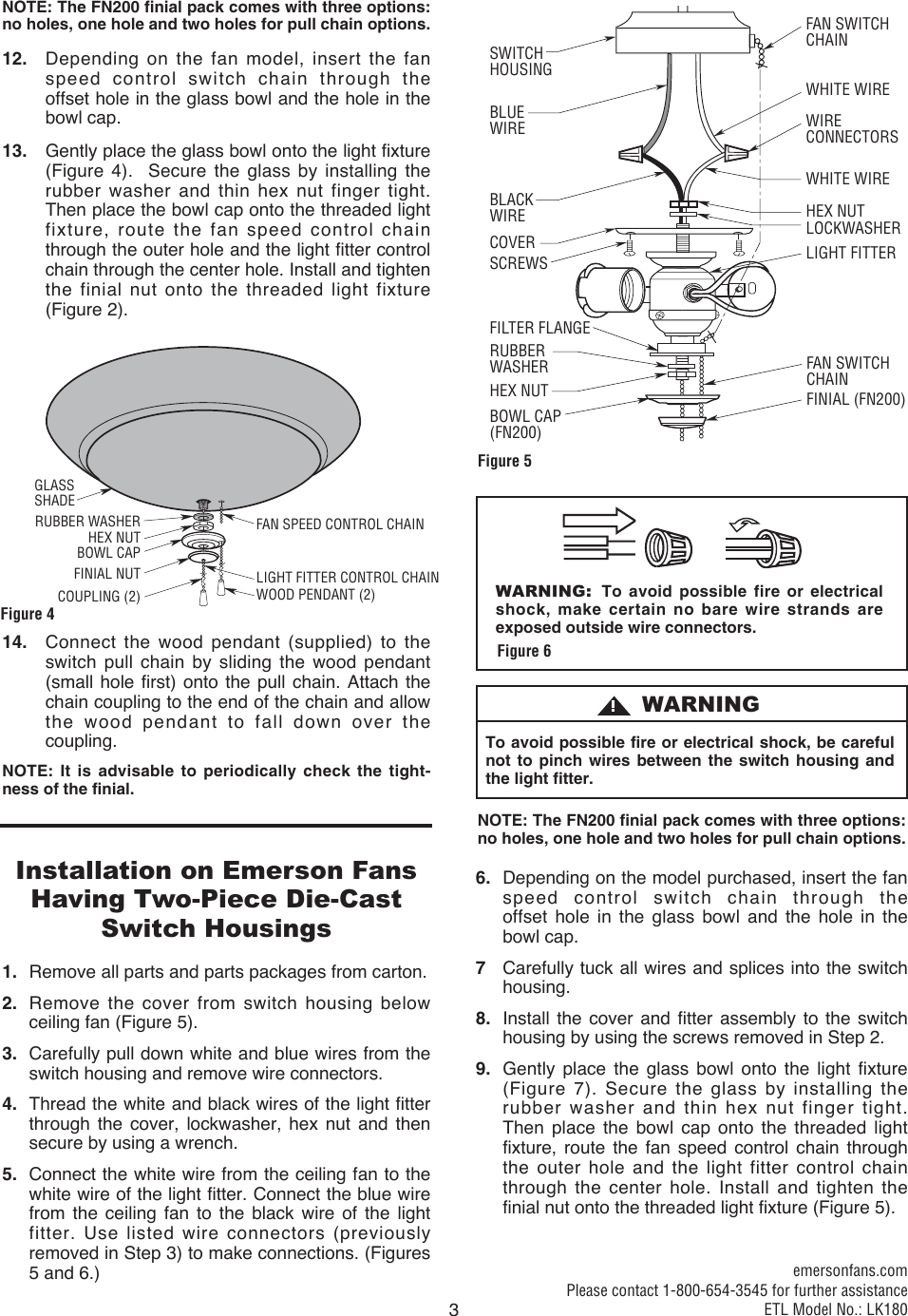 Emerson Lk180 Owners Manual Bp7486 Wiring A Light Fixture Blue Wire Page 3 Of 4