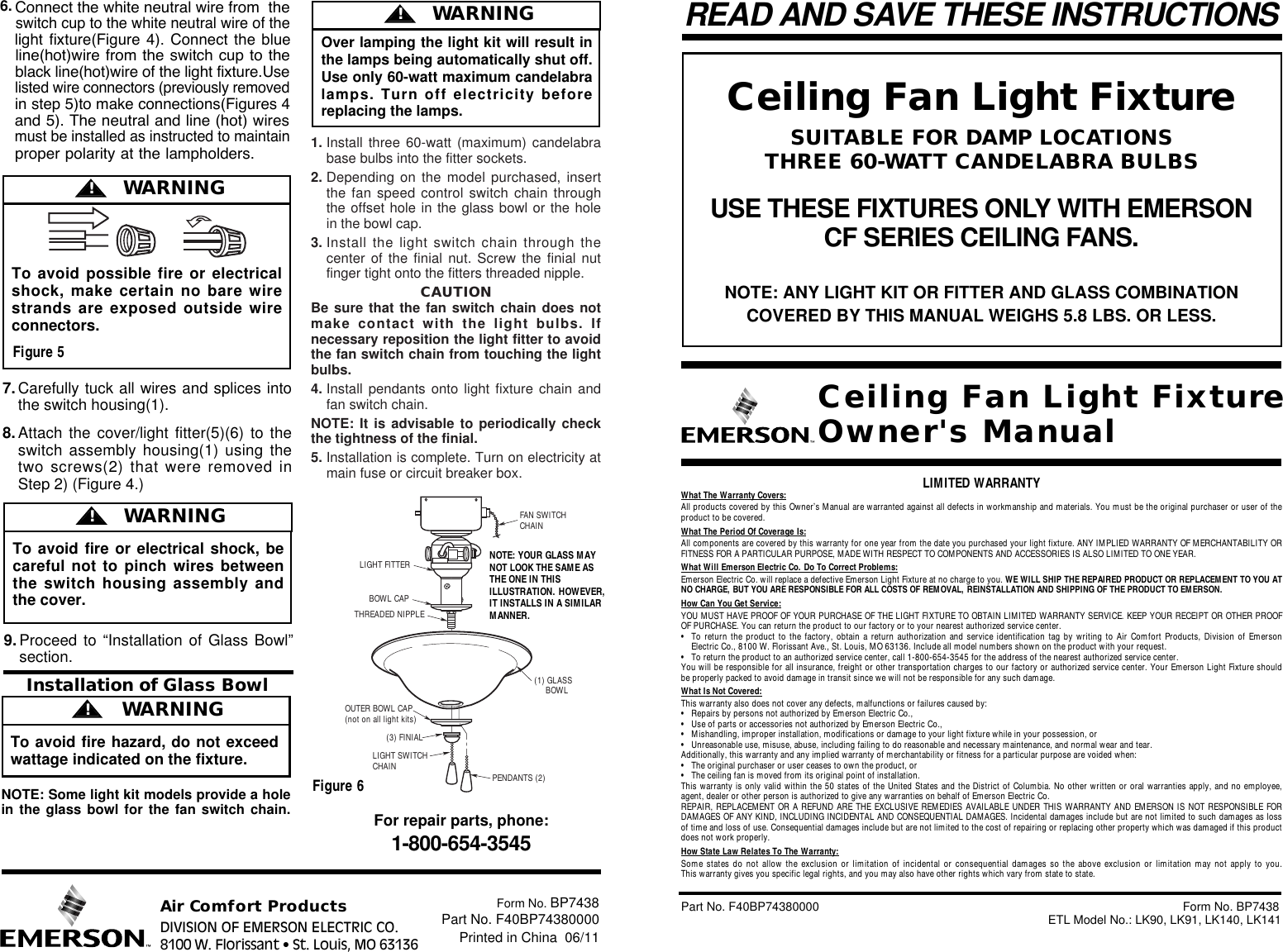 Emerson Lk91 Owners Manual Bp7438 Light Fixture Wiring 2 White Black