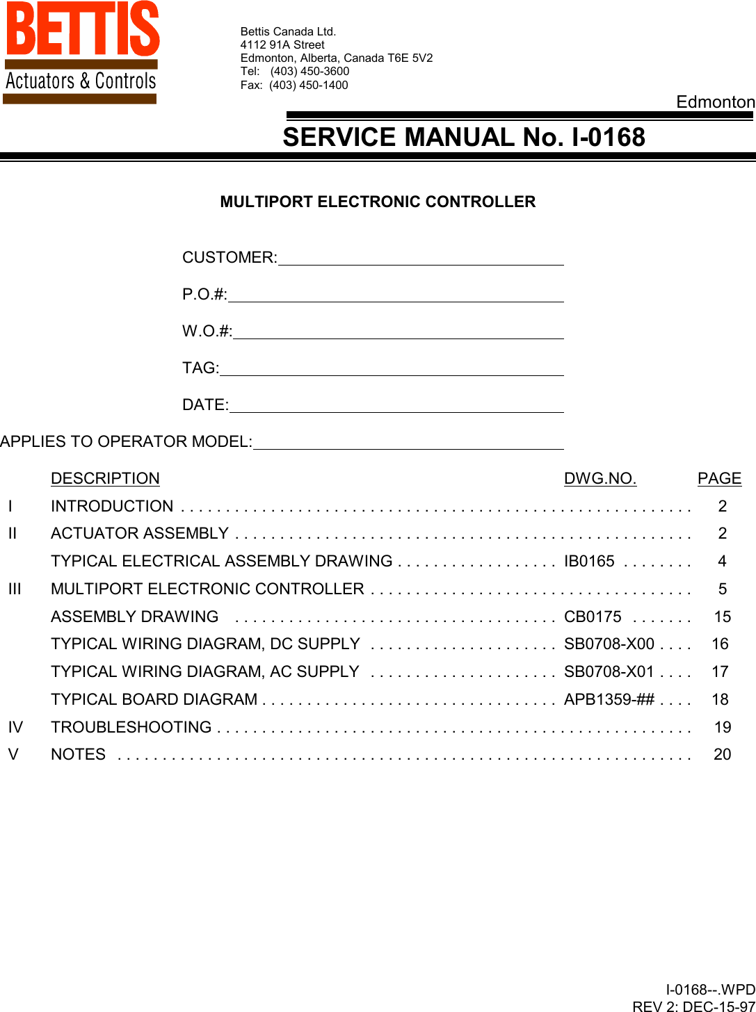 [DIAGRAM_0HG]  Emerson Multiport Flow Selector I 0168 Service Manual | Bettis Valve 120 Volt Wiring Diagram |  | UserManual.wiki