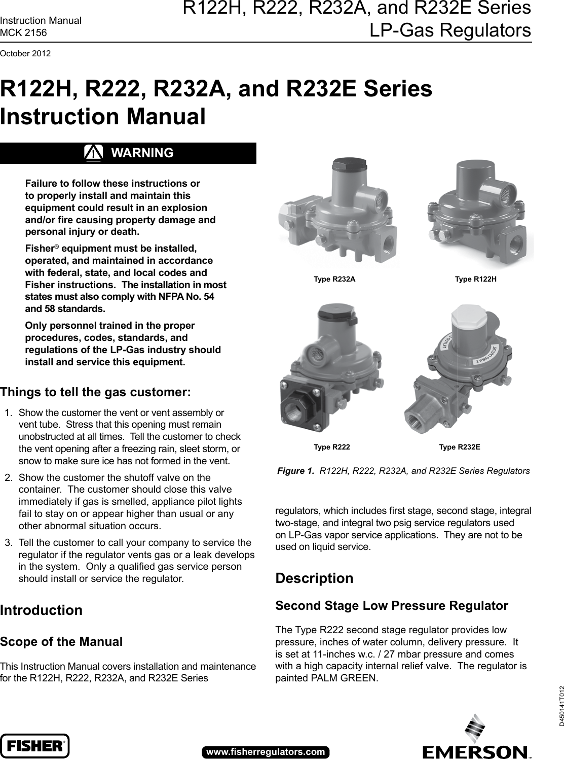 Emerson R222 Series Second Stage Regulator Instruction Manual