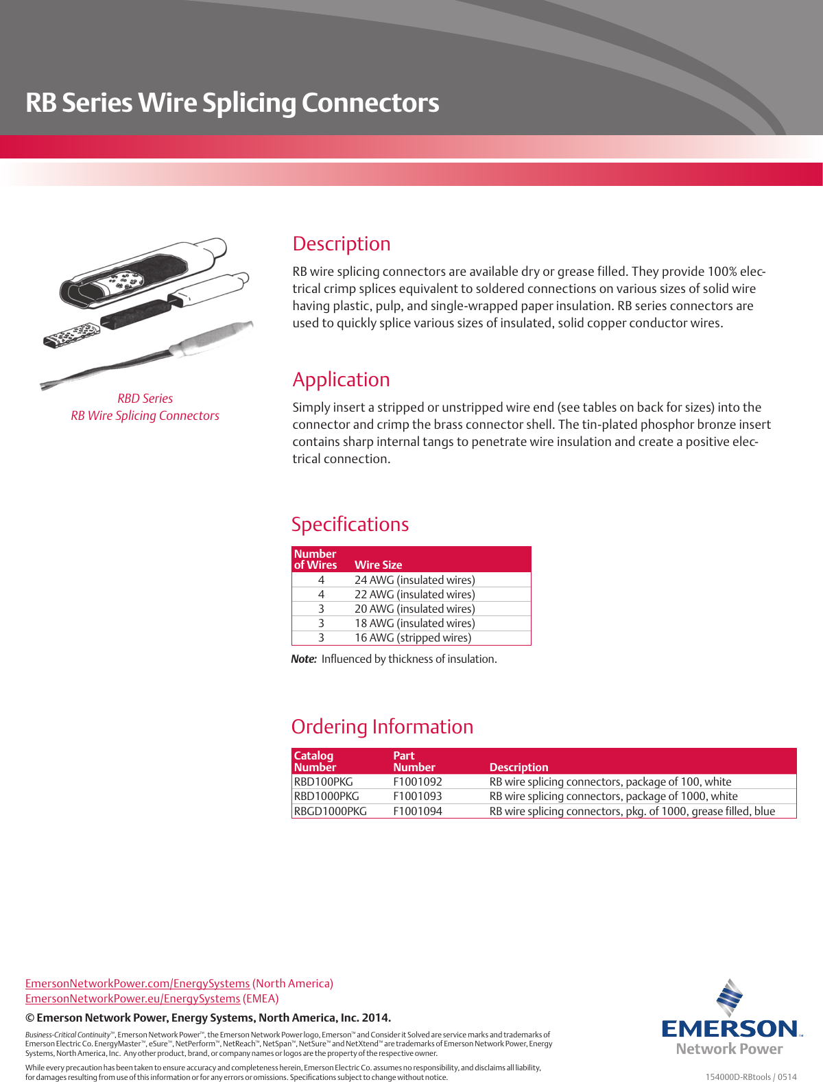 Emerson Rb Series Wire Splice Connectors Brochures And Data Sheets