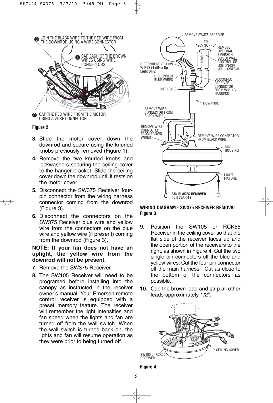 Emerson Sw375 Owners Manual BP7424