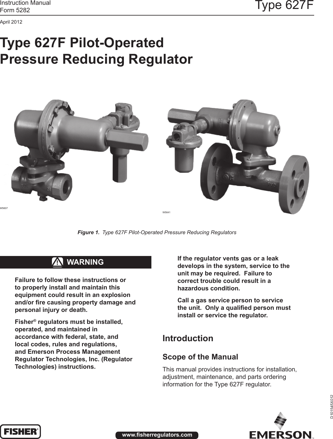 Emerson Type 627F Pressure Reducing Regulator Instruction Manual