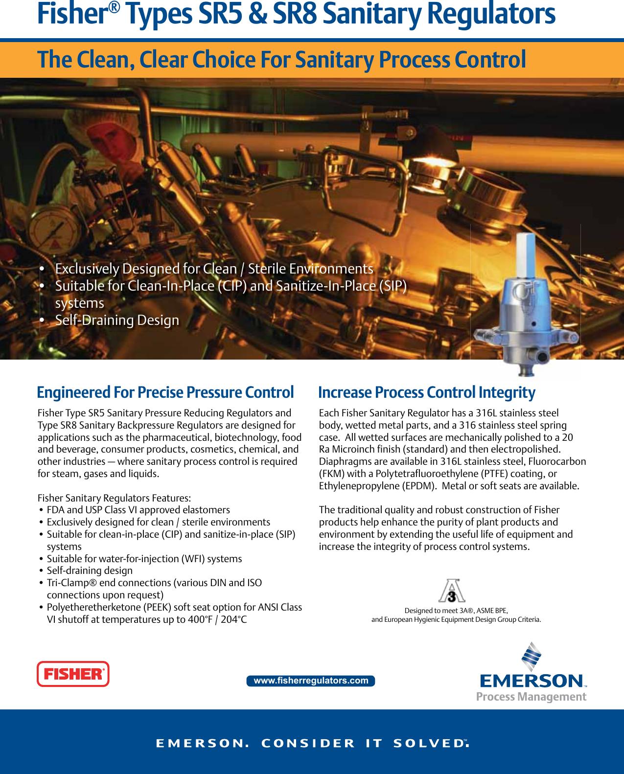 Emerson Type Sr5 Sanitary Pressure Regulator Data Sheet