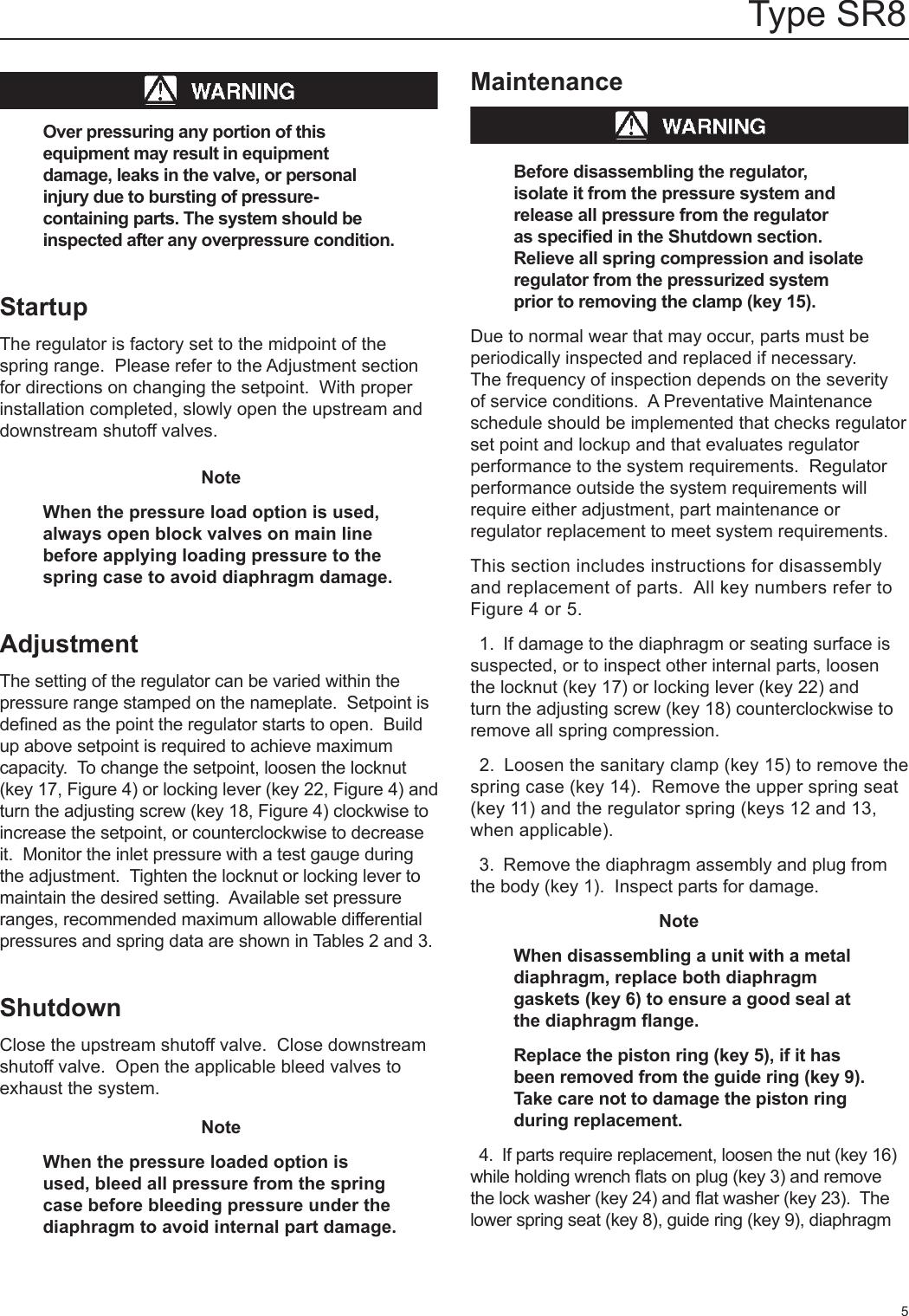 Emerson Type Sr8 Sanitary Backpressure Regulator Instruction Manual