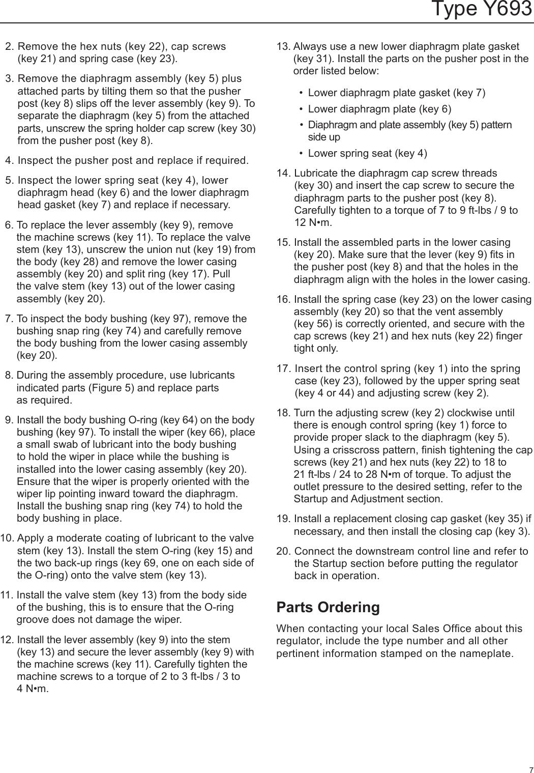 Emerson Type Y693 Gas Blanketing Regulator Instruction Manual