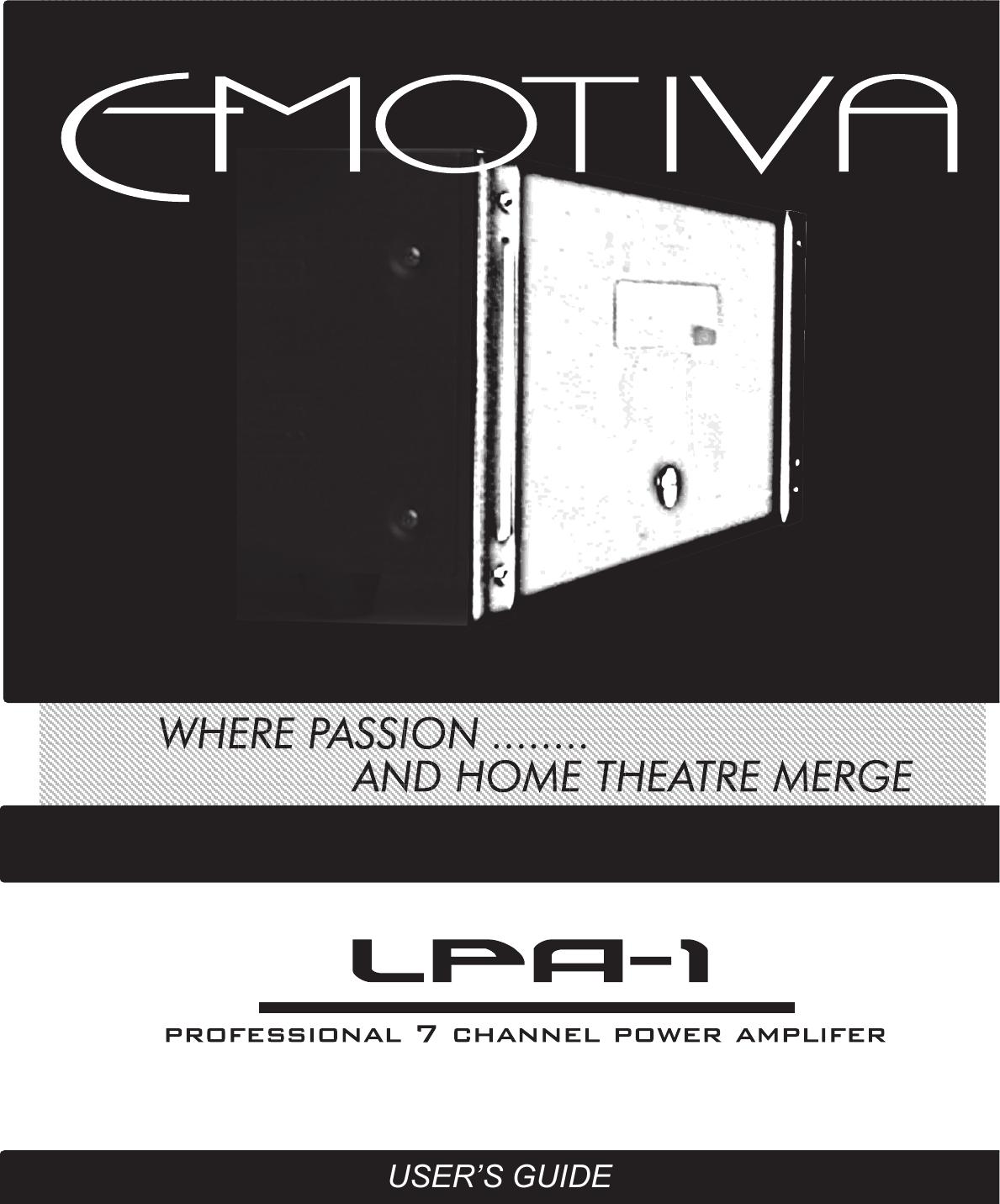 Emotiva Lpa 1 Users Manual Parallel Speaker Wiring On Dual Voice Coil Speakers In Series