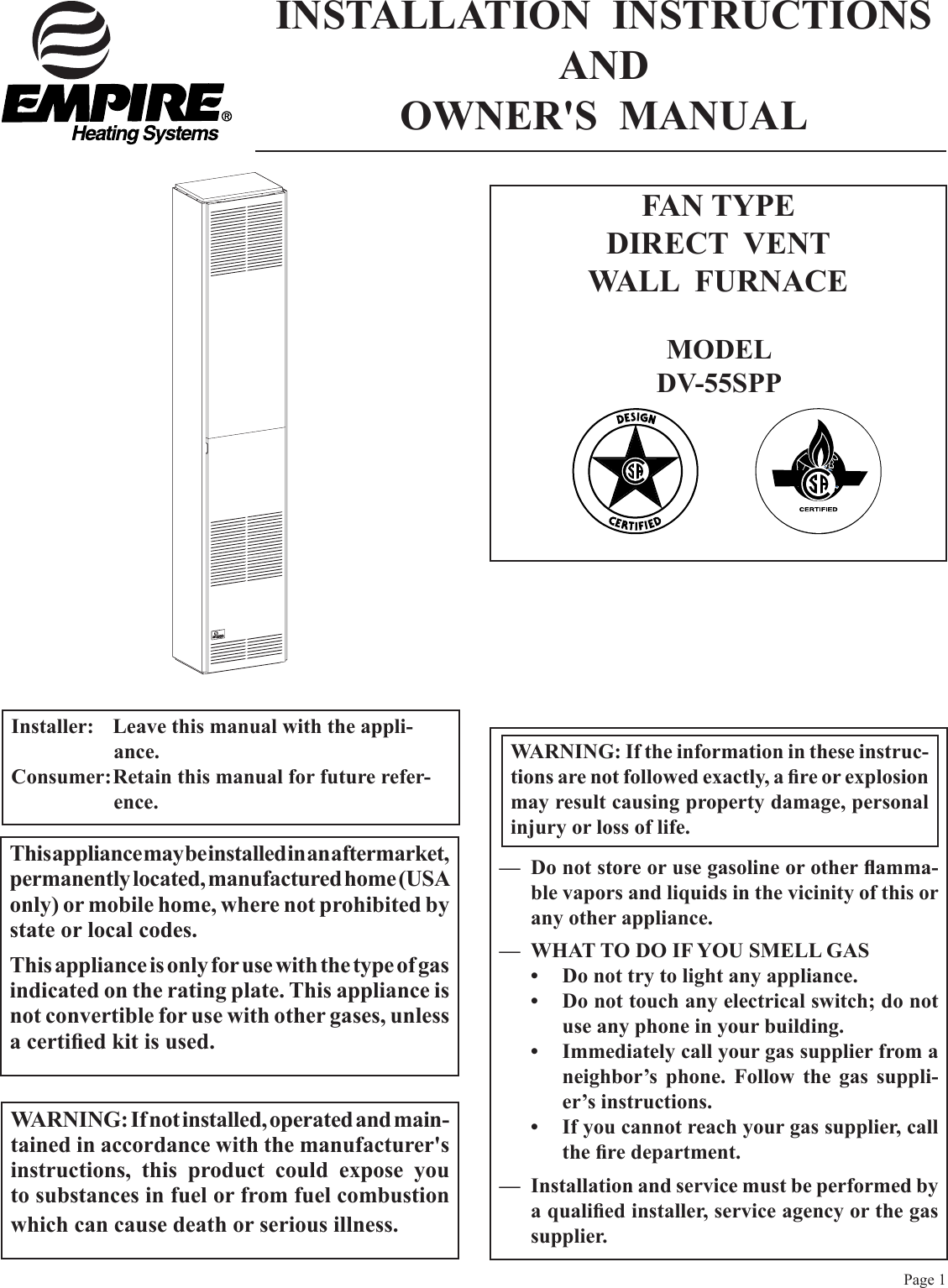 Empire Comfort Systems Dv 55Spp Users Manual 12431 9 0408 DV55PP on empire wall furnace gas valve diagram, empire wall furnace parts, cozy wall furnace wiring diagram, williams wall furnace wiring diagram, gas wall furnace wiring diagram,