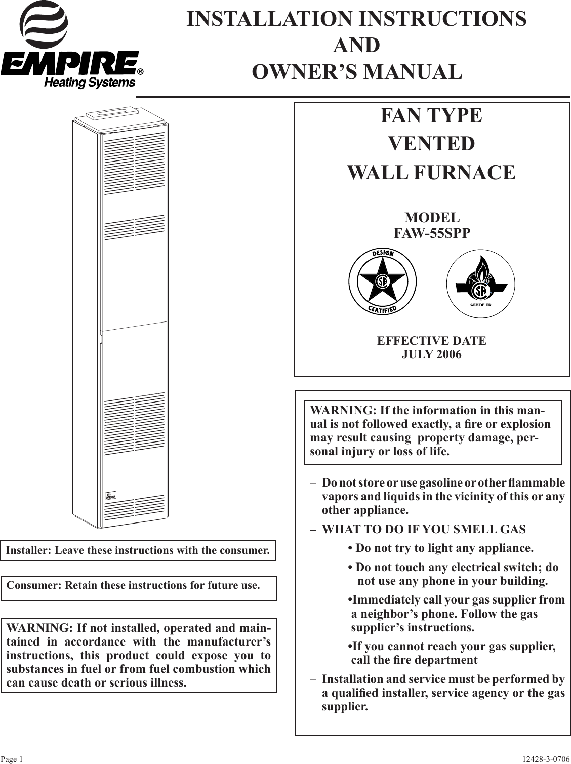 Empire Comfort Systems Faw 55spp Users Manual 12428 3 0706 Wall Furnace Wiring Diagram Page 1 Of 12