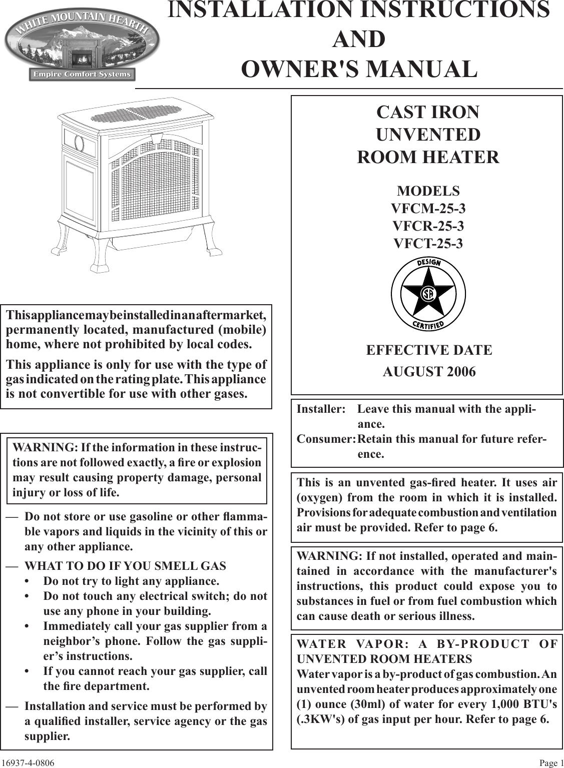 Empire Comfort Systems Vfcm 25 3 Vfcr Users Manual 16937 4 0806 Do Wall Heater Thermostat Wiring No Release Until Further Notice Cast Iron Unvented Room