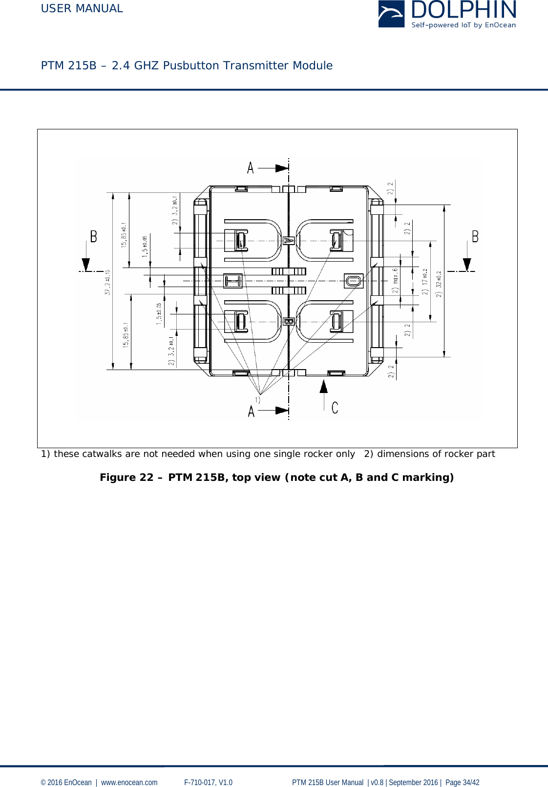 USER MANUAL    PTM 215B – 2.4 GHZ Pusbutton Transmitter Module  © 2016 EnOcean     www.enocean.com   F-710-017, V1.0        PTM 215B User Manual    v0.8   September 2016    Page 34/42      1) these catwalks are not needed when using one single rocker only 2) dimensions of rocker part  Figure 22 – PTM 215B, top view (note cut A, B and C marking)