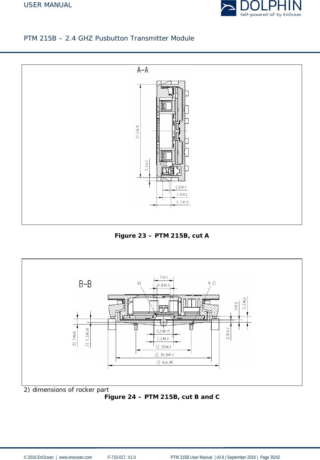 USER MANUAL    PTM 215B – 2.4 GHZ Pusbutton Transmitter Module  © 2016 EnOcean     www.enocean.com   F-710-017, V1.0        PTM 215B User Manual    v0.8   September 2016    Page 35/42     Figure 23 – PTM 215B, cut A        2) dimensions of rocker part Figure 24 – PTM 215B, cut B and C