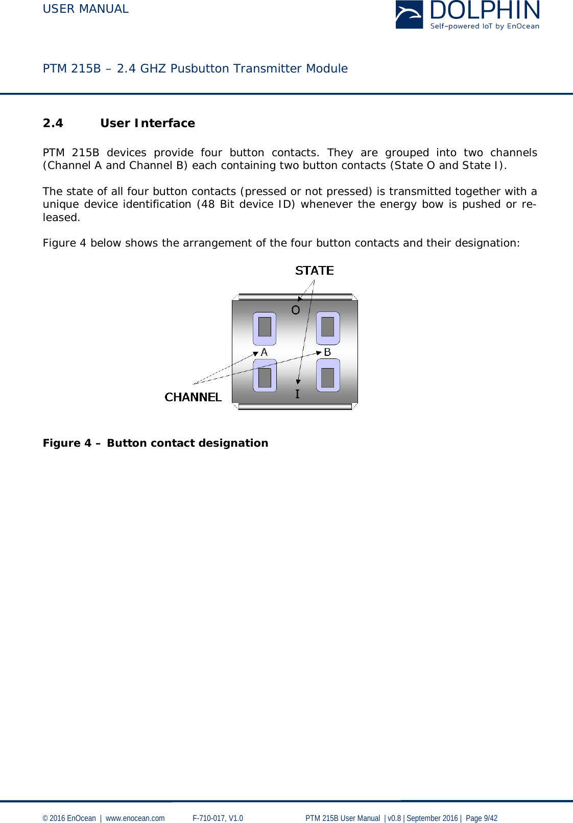 USER MANUAL    PTM 215B – 2.4 GHZ Pusbutton Transmitter Module  © 2016 EnOcean     www.enocean.com   F-710-017, V1.0        PTM 215B User Manual    v0.8   September 2016    Page 9/42  2.4 User Interface  PTM 215B devices provide four button  contacts. They are grouped into two channels (Channel A and Channel B) each containing two button contacts (State O and State I).   The state of all four button contacts (pressed or not pressed) is transmitted together with a unique device identification (48 Bit device ID) whenever the energy bow is pushed or re-leased.   Figure 4 below shows the arrangement of the four button contacts and their designation:   Figure 4 – Button contact designation