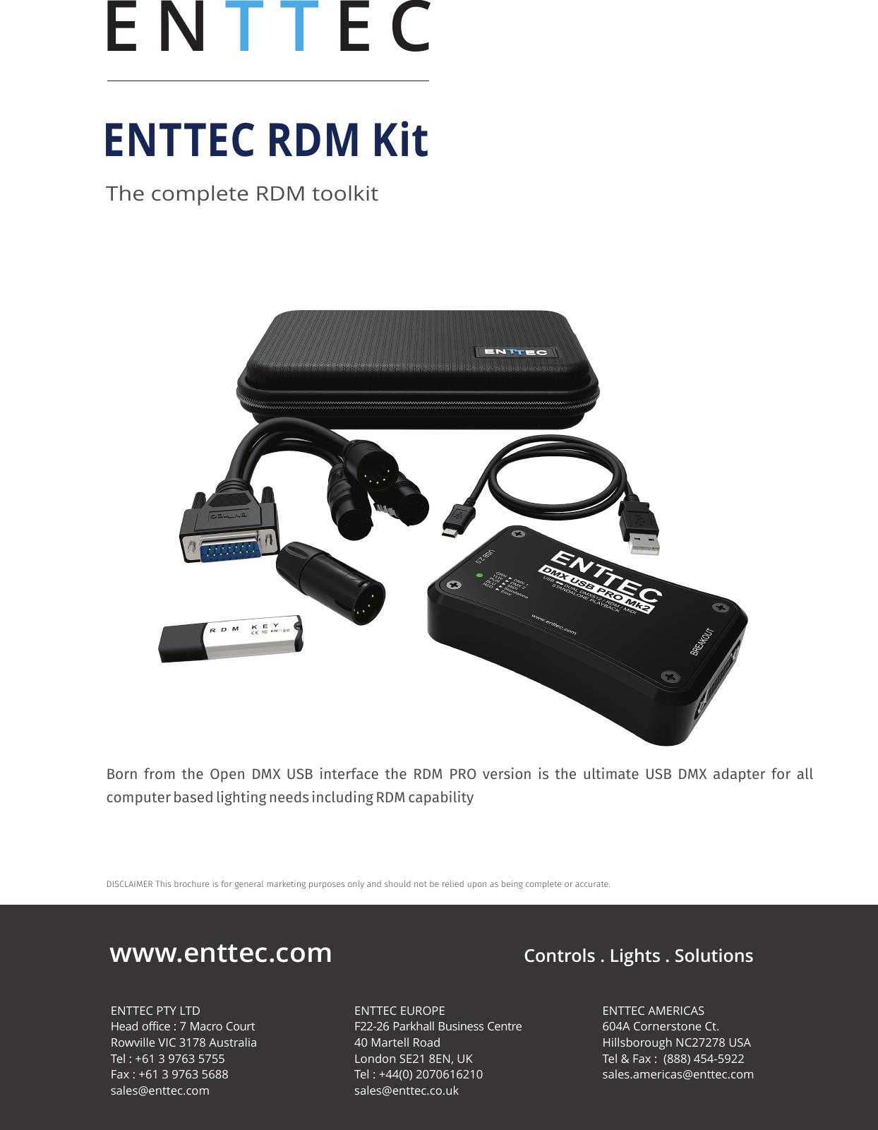 Enttec Rdm Kit Brochure User Manual