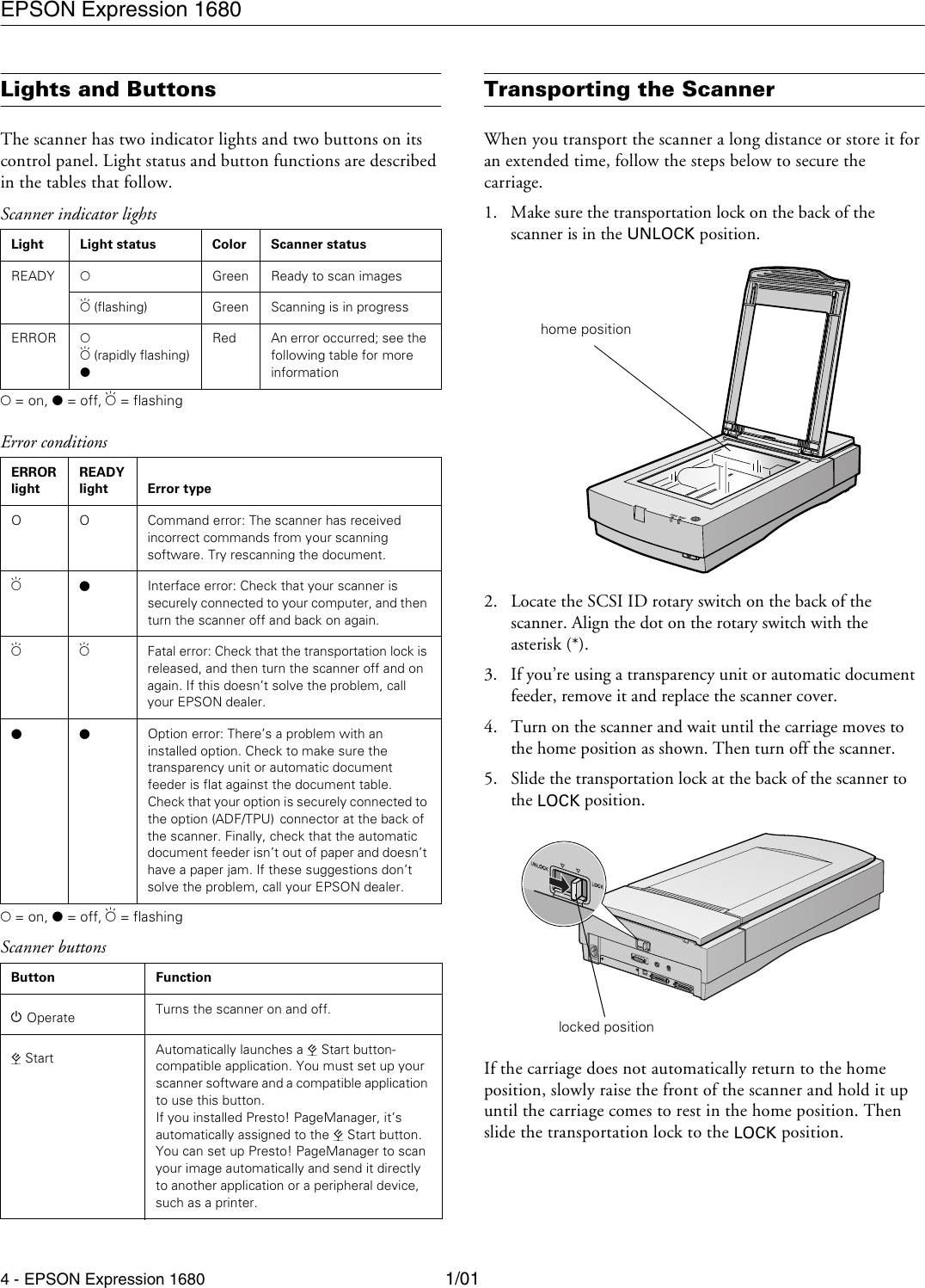 Epson Expression 1680 Professional Product Information Guide