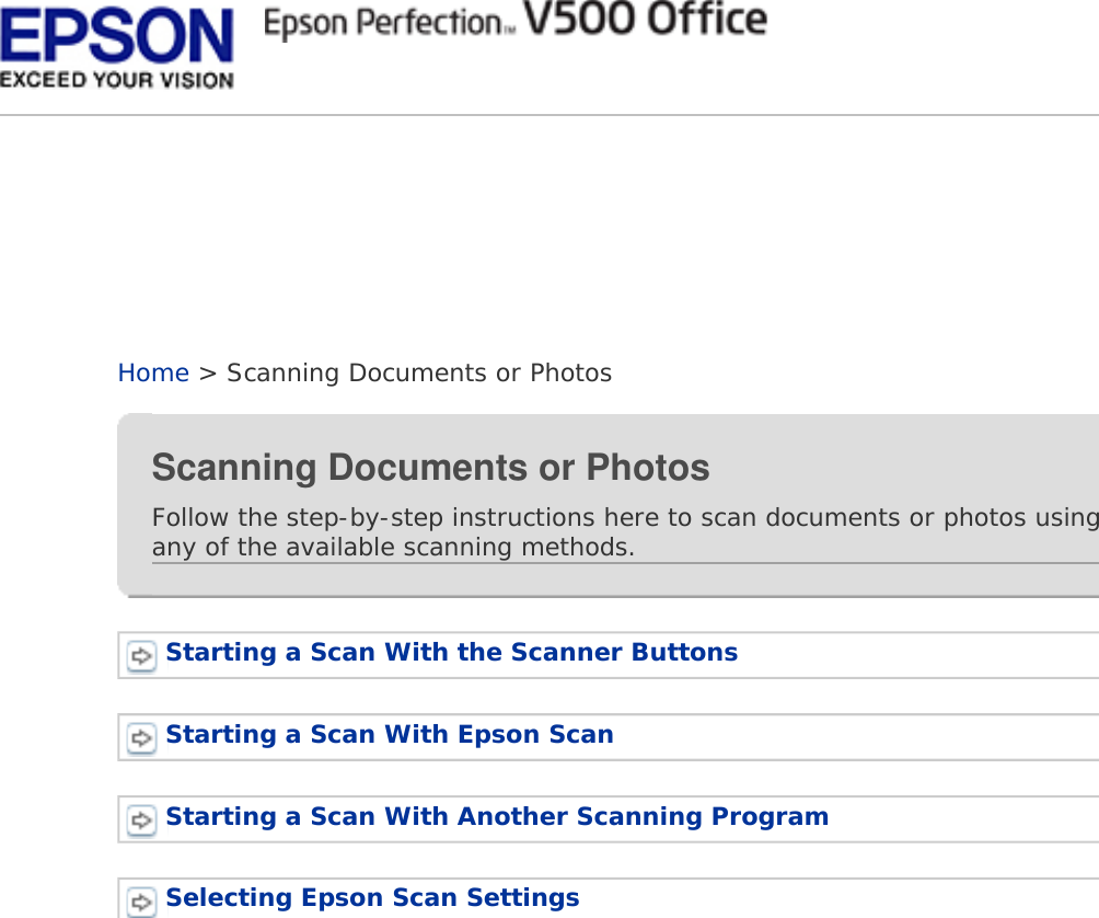 Epson Perfection V500 Office Color Scanner Users Guide User's (able
