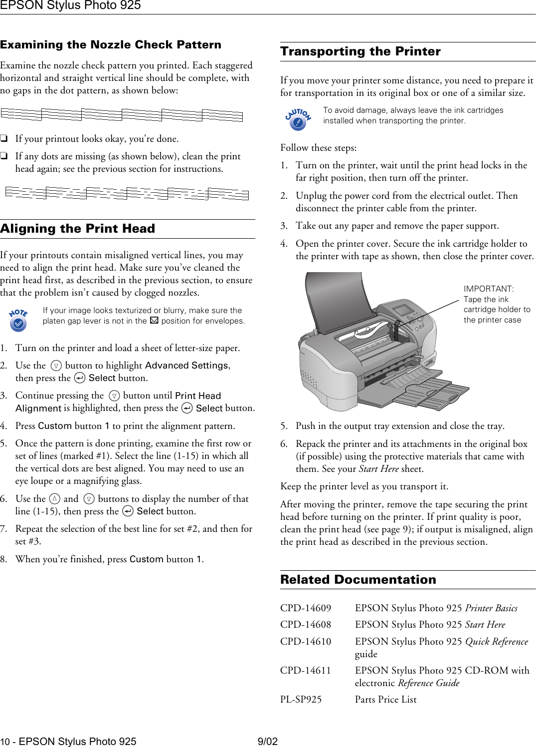 Epson Stylus Photo 925 Ink Jet Printer Product Information Guide