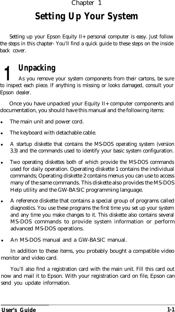 Epson Equity Ii Users Manual II+ User