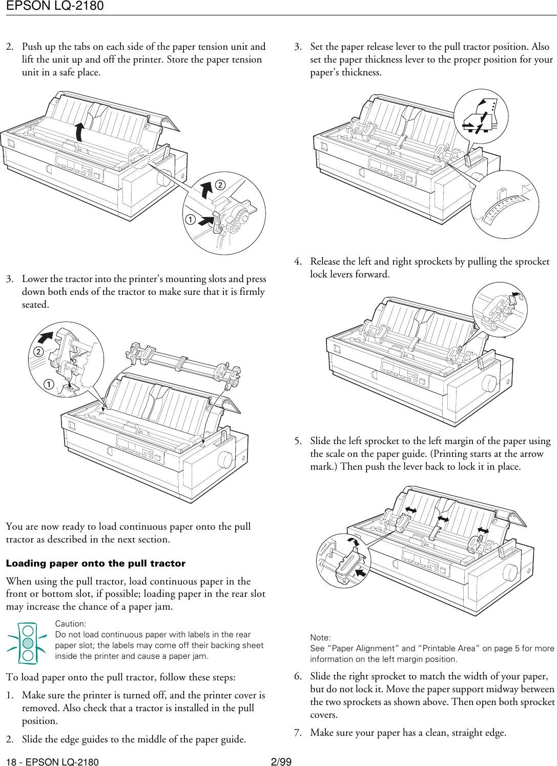 Epson Lq 2180 Impact Printer Product Information Guide