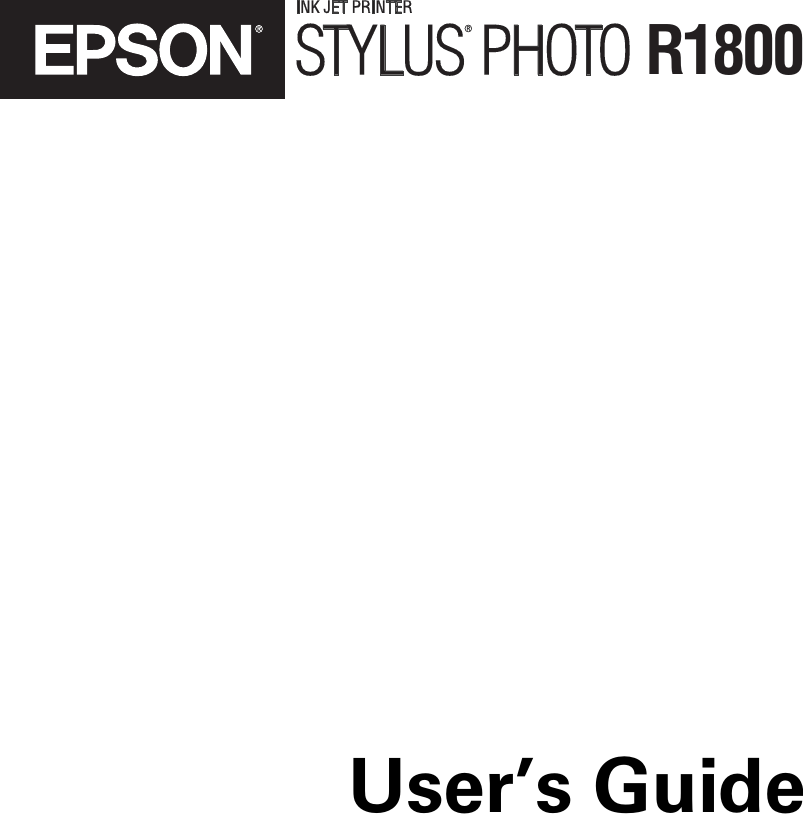 Epson Stylus Photo R1800 Users Manual