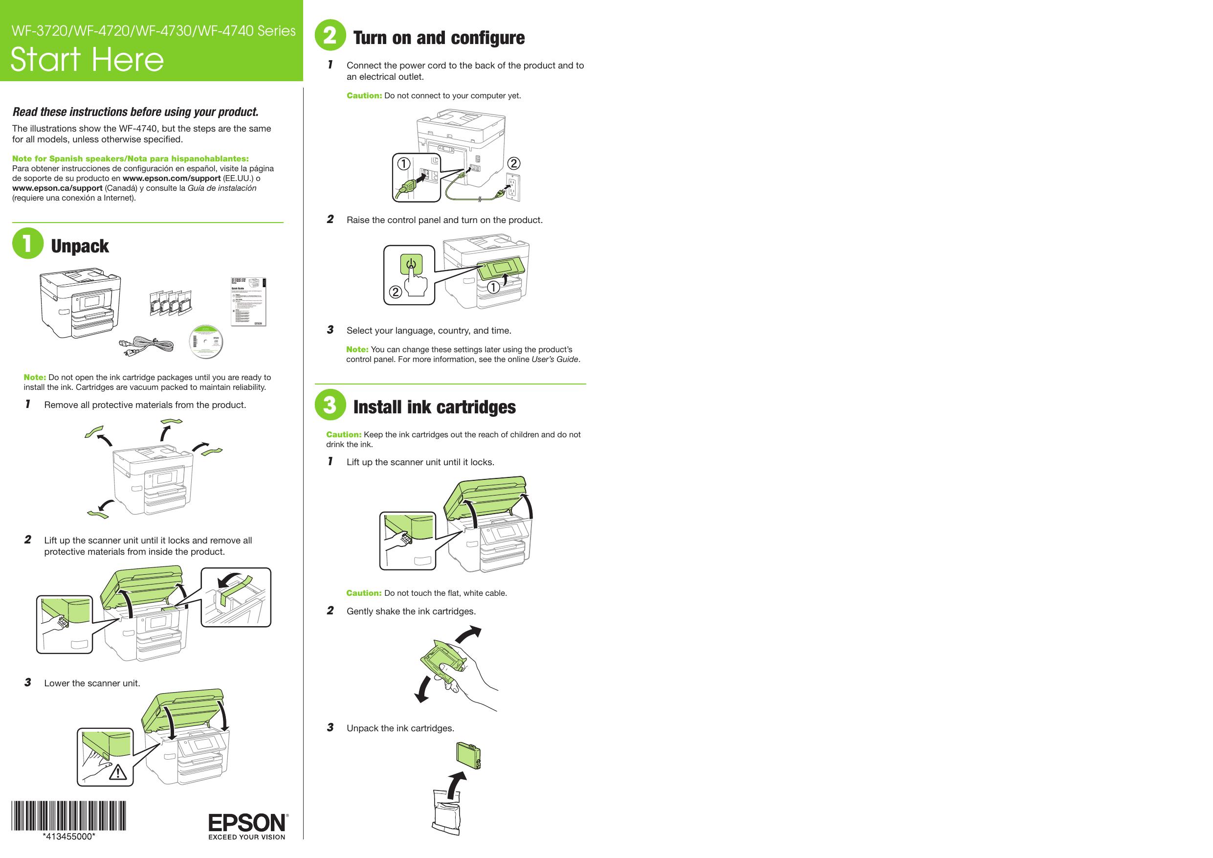 Epson Start Here WF 3720/WF 4720/WF 4730/WF 4740 Series