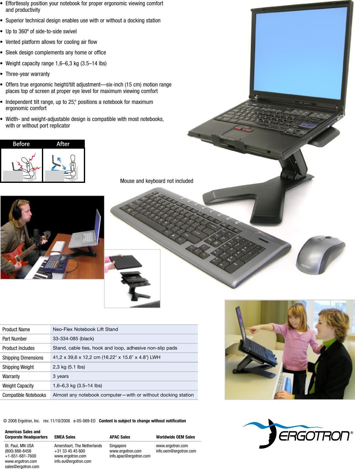 Black Ergotron 33-334-085 Ergotron Neo-Flex Notebook Lift Stand