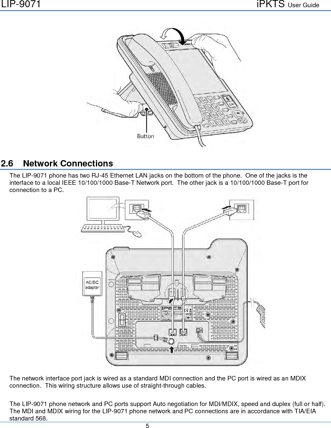 Ericsson Lg Enterprise Lip9071 Ip Gigabit Video Phone User Manual Lan Jack Wiring Lip 9071 Ipkts Guide 5 26 Network Connections The Has