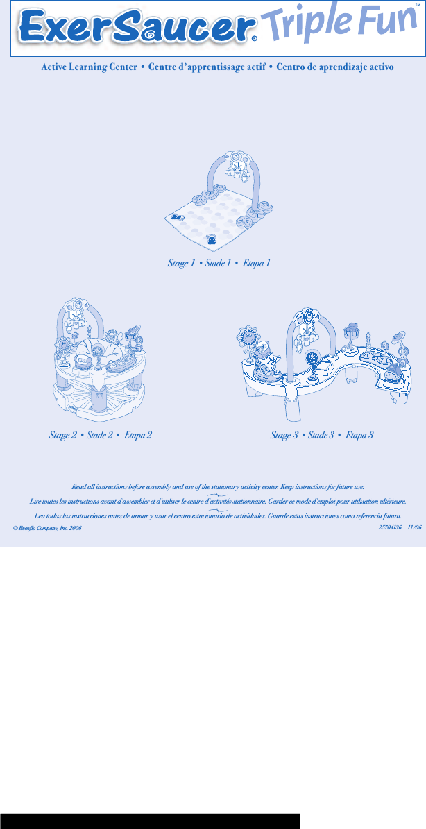 Evenflo Exersaucer Triple Fun Instructions For Use Manual 822405