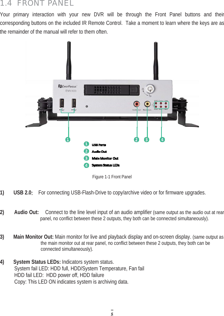 Everfocus Wiring Diagram Library H 264 Dvr Circuit 514 Front Panel Your Primary Interaction With New Will Be Through The