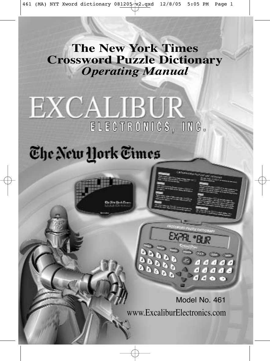 excalibur electronic the new york times crossword puzzle dictionary rh usermanual wiki Excalibur Automatic Bingo Calling Excalibur Einstein Touch Solitaire