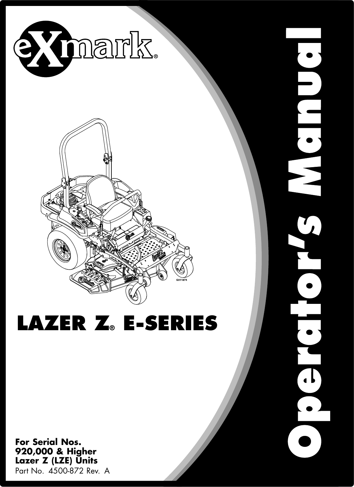 Exmark Lazer Z 4500 872 Users Manual Wiring Diagram