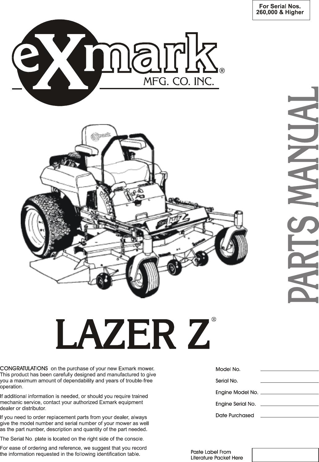 Exmark Lzz34ka726 Lazer Z Ac S N 790 000 U0026 Up Parts Manual Guide