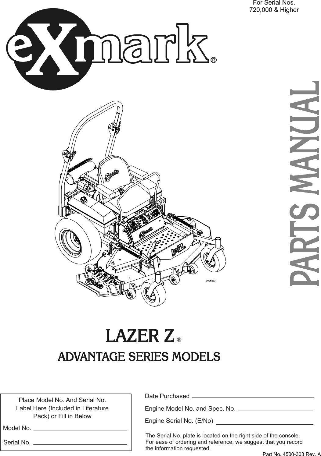 Exmark Lazer Z Advantage Series Users Manual 4500 303