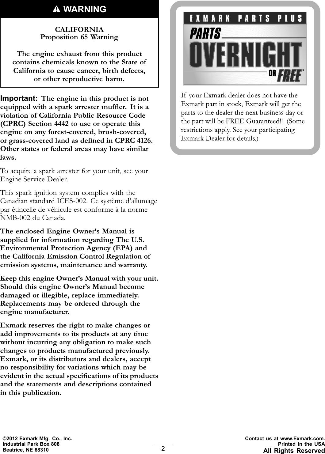Exmark Lazer Z S Series 0 Users Manual